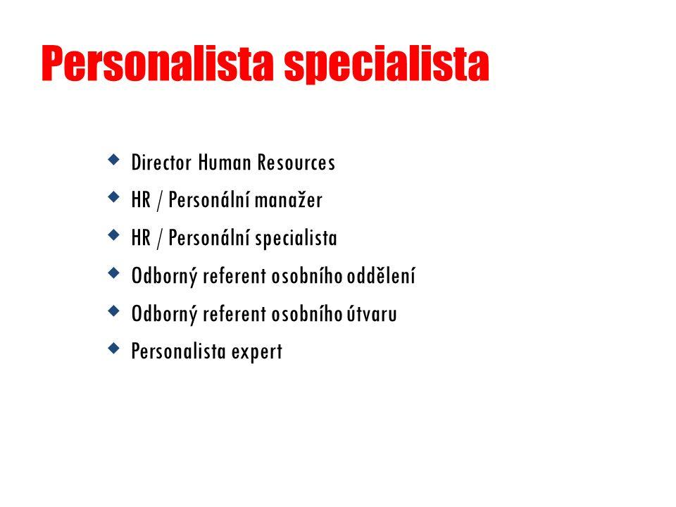 Personalista specialista  Director Human Resources  HR / Personální manažer  HR / Personální specialista  Odborný referent osobního oddělení  Odb
