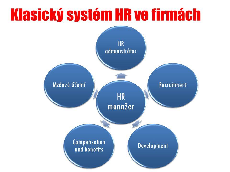 Klasický systém HR ve firmách HR manažer HR administrátor RecruitmentDevelopment Compensation and benefits Mzdová účetní