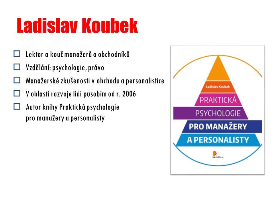 Ladislav Koubek  Lektor a kouč manažerů a obchodníků  Vzdělání: psychologie, právo  Manažerské zkušenosti v obchodu a personalistice  V oblasti ro