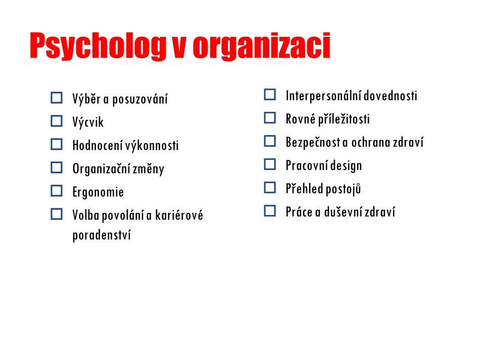 Psycholog v organizaci  Výběr a posuzování  Výcvik  Hodnocení výkonnosti  Organizační změny  Ergonomie  Volba povolání a kariérové poradenství 