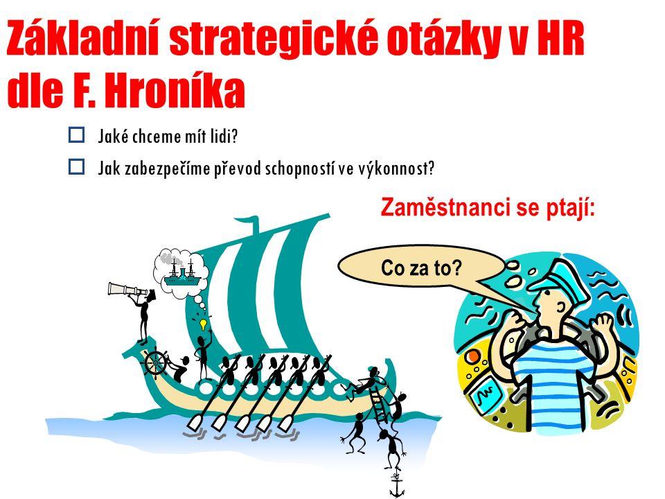 Základní strategické otázky v HR dle F. Hroníka  Jaké chceme mít lidi?  Jak zabezpečíme převod schopností ve výkonnost? Zaměstnanci se ptají: Co za