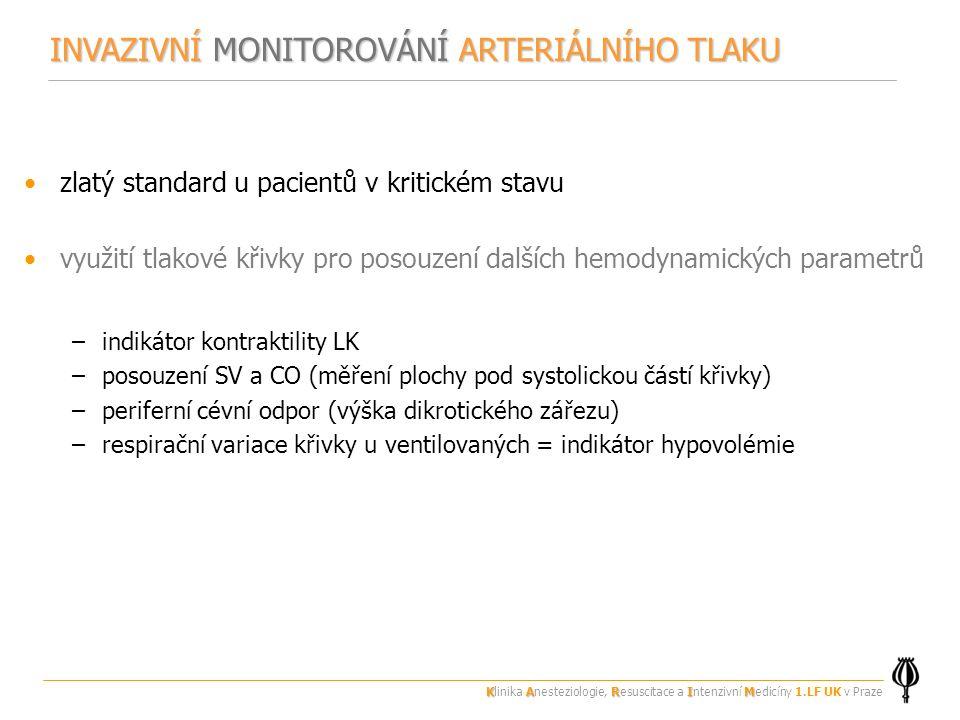 zlatý standard u pacientů v kritickém stavu využití tlakové křivky pro posouzení dalších hemodynamických parametrů –indikátor kontraktility LK –posouzení SV a CO (měření plochy pod systolickou částí křivky) –periferní cévní odpor (výška dikrotického zářezu) –respirační variace křivky u ventilovaných = indikátor hypovolémie INVAZIVNÍ MONITOROVÁNÍ ARTERIÁLNÍHO TLAKU KARIM Klinika Anesteziologie, Resuscitace a Intenzivní Medicíny 1.LF UK v Praze