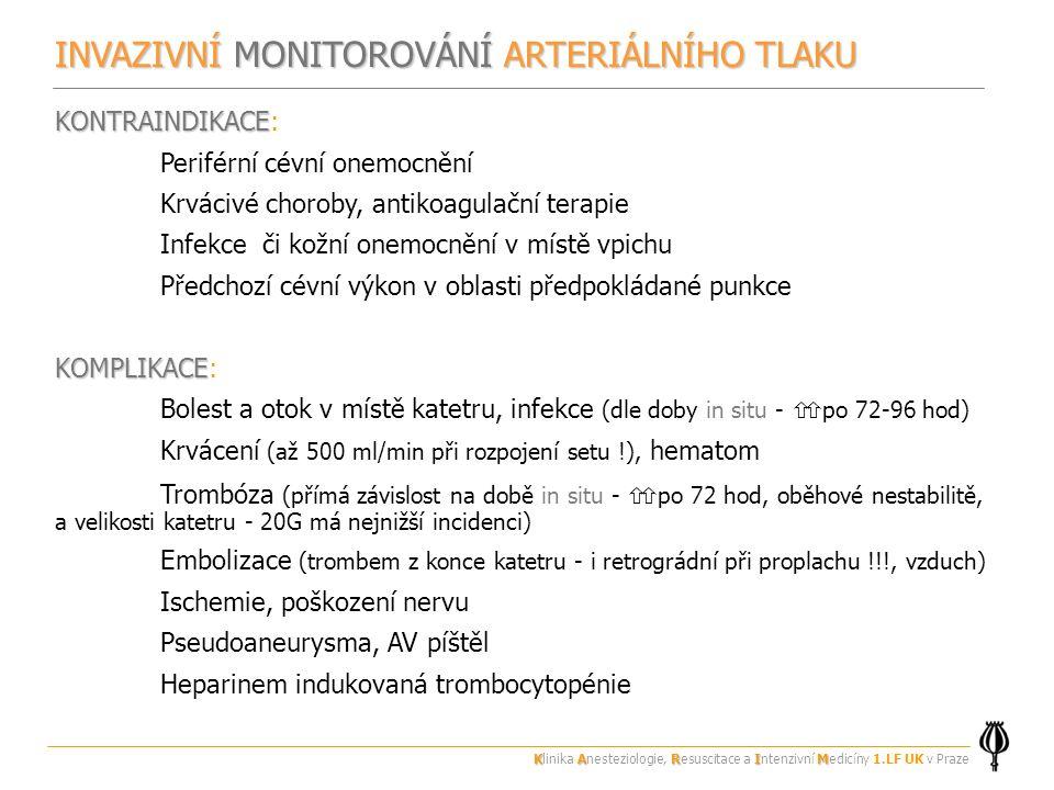 INVAZIVNÍ MONITOROVÁNÍ ARTERIÁLNÍHO TLAKU KONTRAINDIKACE KONTRAINDIKACE: Periférní cévní onemocnění Krvácivé choroby, antikoagulační terapie Infekce či kožní onemocnění v místě vpichu Předchozí cévní výkon v oblasti předpokládané punkce KOMPLIKACE KOMPLIKACE: Bolest a otok v místě katetru, infekce (dle doby in situ -  po 72-96 hod) Krvácení (až 500 ml/min při rozpojení setu !), hematom Trombóza (přímá závislost na době in situ -  po 72 hod, oběhové nestabilitě, a velikosti katetru - 20G má nejnižší incidenci) Embolizace (trombem z konce katetru - i retrográdní při proplachu !!!, vzduch) Ischemie, poškození nervu Pseudoaneurysma, AV píštěl Heparinem indukovaná trombocytopénie KARIM Klinika Anesteziologie, Resuscitace a Intenzivní Medicíny 1.LF UK v Praze