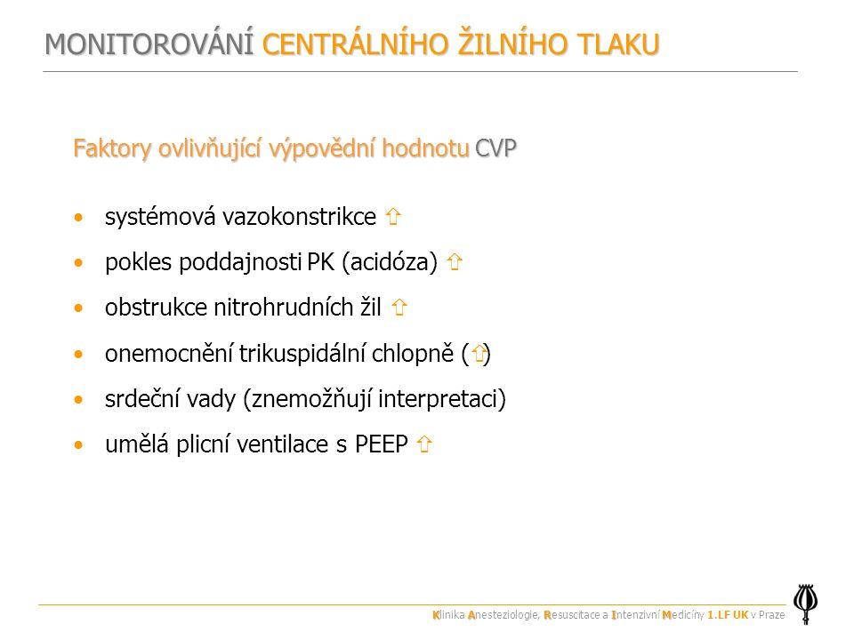 Faktory ovlivňující výpovědní hodnotu CVP systémová vazokonstrikce  pokles poddajnosti PK (acidóza)  obstrukce nitrohrudních žil  onemocnění trikuspidální chlopně (  ) srdeční vady (znemožňují interpretaci) umělá plicní ventilace s PEEP  MONITOROVÁNÍ CENTRÁLNÍHO ŽILNÍHO TLAKU KARIM Klinika Anesteziologie, Resuscitace a Intenzivní Medicíny 1.LF UK v Praze