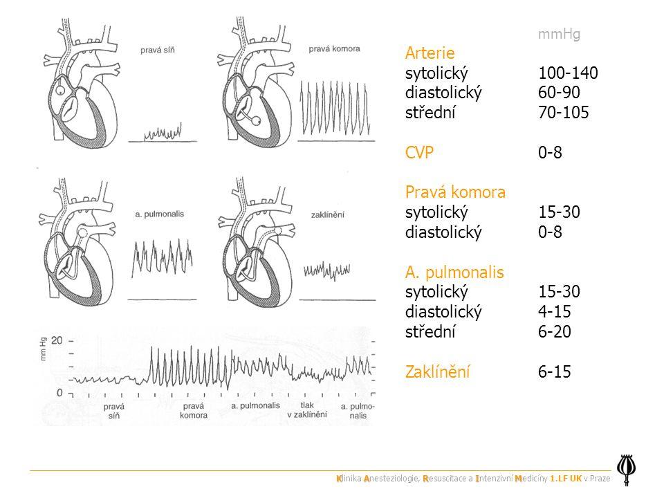 mmHg Arterie sytolický100-140 diastolický60-90 střední70-105 CVP0-8 Pravá komora sytolický15-30 diastolický0-8 A.