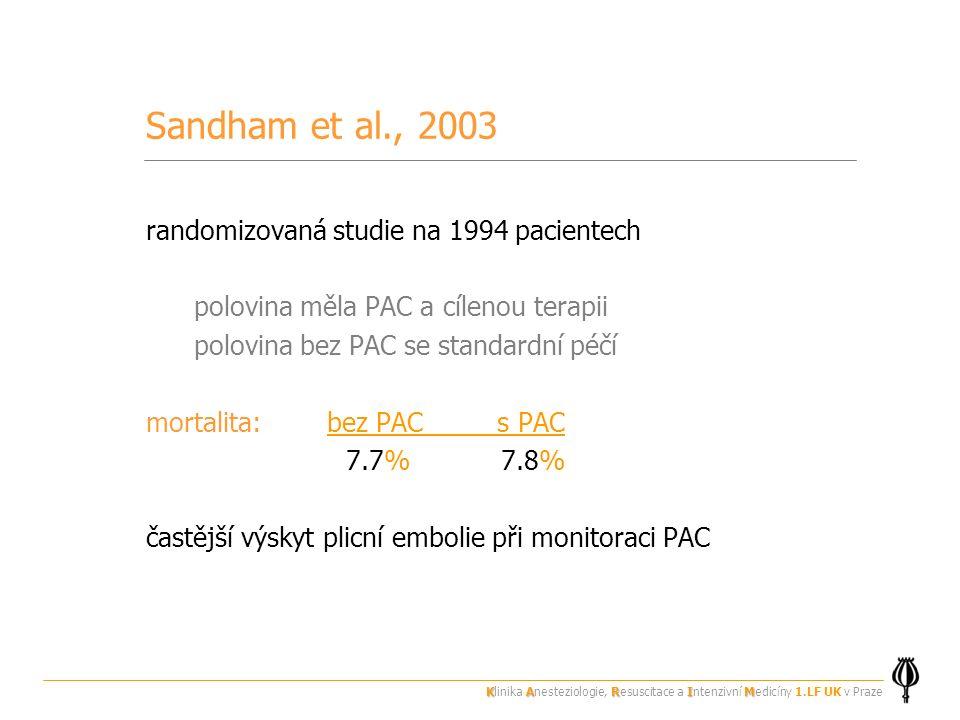 Sandham et al., 2003 randomizovaná studie na 1994 pacientech polovina měla PAC a cílenou terapii polovina bez PAC se standardní péčí mortalita: bez PAC s PAC 7.7% 7.8% častější výskyt plicní embolie při monitoraci PAC KARIM Klinika Anesteziologie, Resuscitace a Intenzivní Medicíny 1.LF UK v Praze