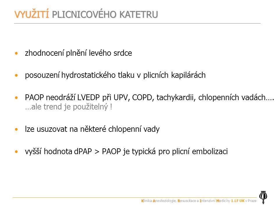 zhodnocení plnění levého srdce posouzení hydrostatického tlaku v plicních kapilárách PAOP neodráží LVEDP při UPV, COPD, tachykardii, chlopenních vadách….