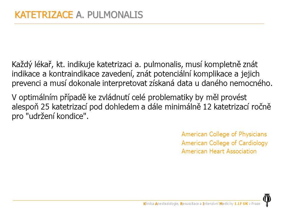 KATETRIZACE A. PULMONALIS Každý lékař, kt. indikuje katetrizaci a.