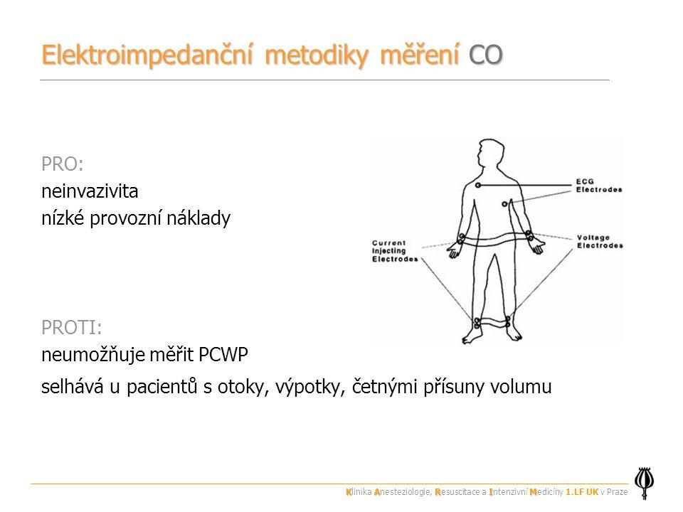 Elektroimpedanční metodiky měření CO PRO: neinvazivita nízké provozní náklady PROTI: neumožňuje měřit PCWP selhává u pacientů s otoky, výpotky, četnými přísuny volumu KARIM Klinika Anesteziologie, Resuscitace a Intenzivní Medicíny 1.LF UK v Praze