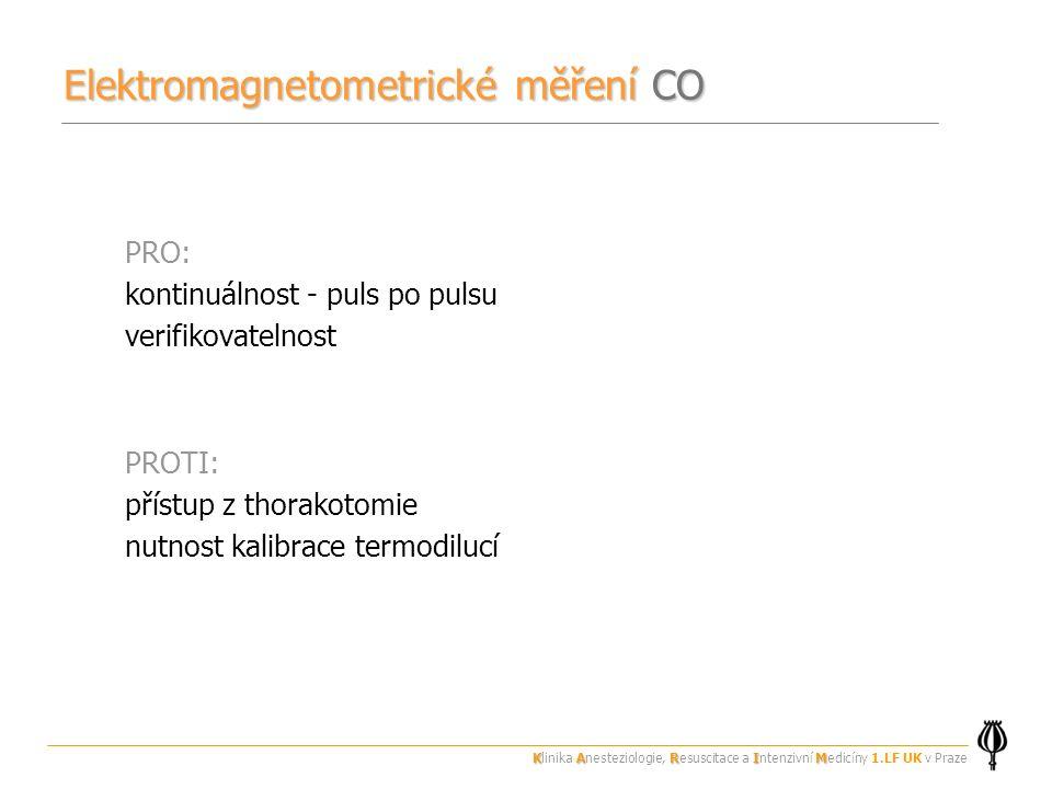 PRO: kontinuálnost - puls po pulsu verifikovatelnost PROTI: přístup z thorakotomie nutnost kalibrace termodilucí Elektromagnetometrické měření CO KARIM Klinika Anesteziologie, Resuscitace a Intenzivní Medicíny 1.LF UK v Praze