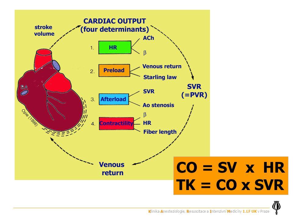 CO = SV x HR TK = CO x SVR KARIM Klinika Anesteziologie, Resuscitace a Intenzivní Medicíny 1.LF UK v Praze