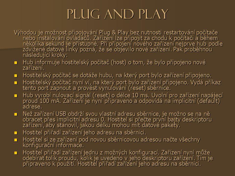 Plug and Play Výhodou je možnost připojování Plug & Play bez nutnosti restartování počítače nebo instalování ovladačů.