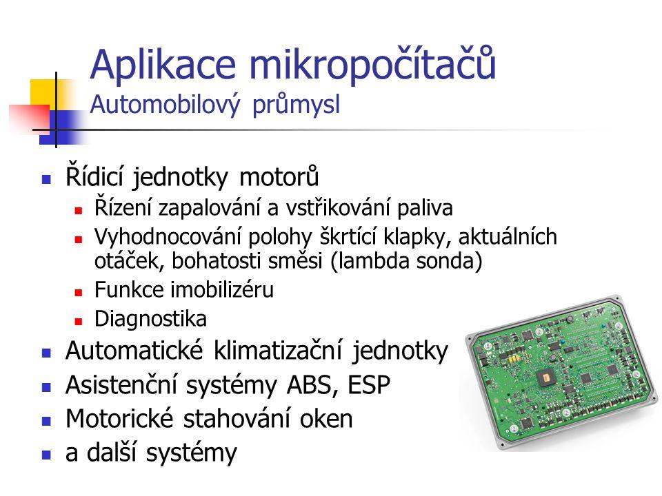 """Aplikace mikropočítačů Spotřební elektronika, bílá technika Prakticky veškeré elektronické výrobky s určitou vnitřní úrovní """"inteligence ."""