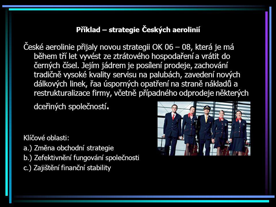 Příklad – strategie Českých aerolinií České aerolinie přijaly novou strategii OK 06 – 08, která je má během tří let vyvést ze ztrátového hospodaření a vrátit do černých čísel.