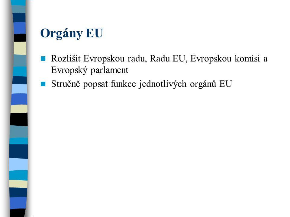Orgány EU Rozlišit Evropskou radu, Radu EU, Evropskou komisi a Evropský parlament Stručně popsat funkce jednotlivých orgánů EU