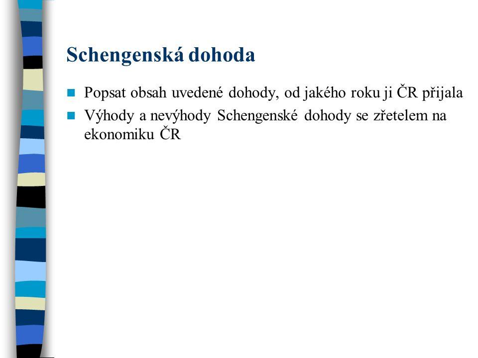 Schengenská dohoda Popsat obsah uvedené dohody, od jakého roku ji ČR přijala Výhody a nevýhody Schengenské dohody se zřetelem na ekonomiku ČR