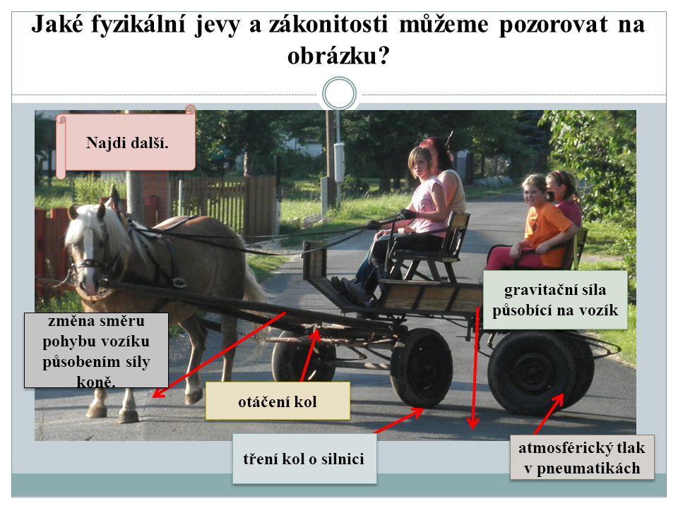 Jaké fyzikální jevy a zákonitosti můžeme pozorovat na obrázku? změna směru pohybu vozíku působením síly koně. otáčení kol tření kol o silnici gravitač