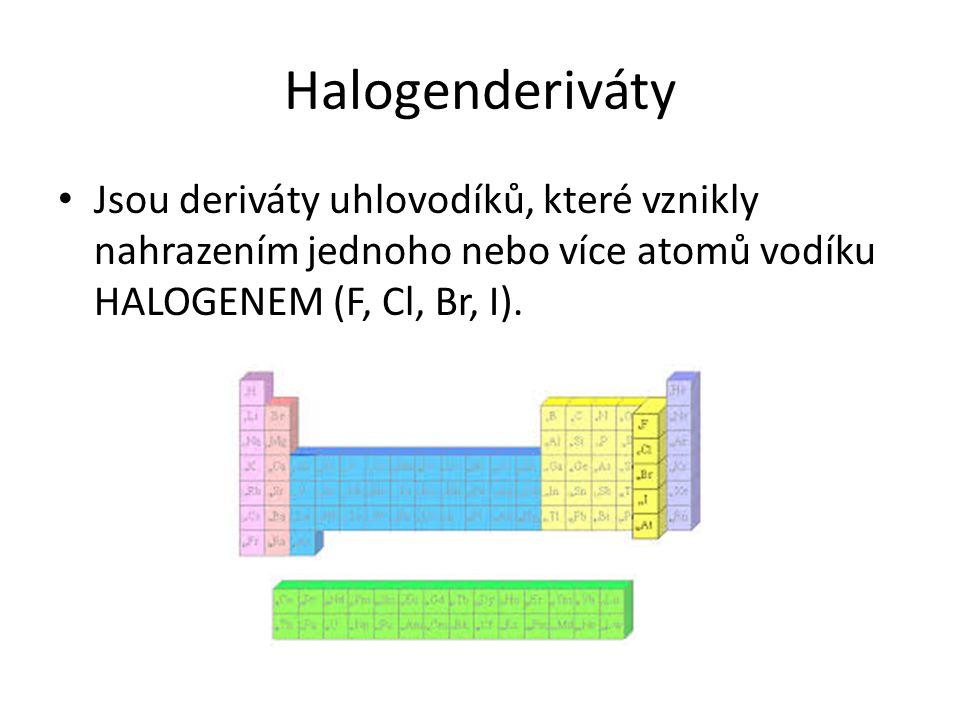 Halogenderiváty Jsou deriváty uhlovodíků, které vznikly nahrazením jednoho nebo více atomů vodíku HALOGENEM (F, Cl, Br, I).