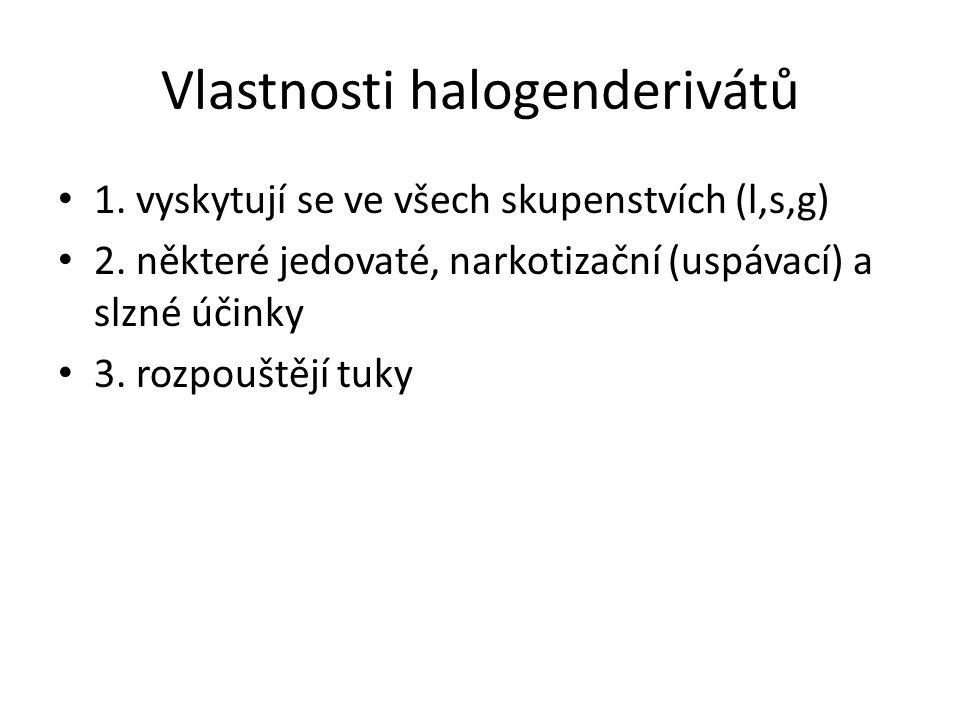 Vlastnosti halogenderivátů 1. vyskytují se ve všech skupenstvích (l,s,g) 2.