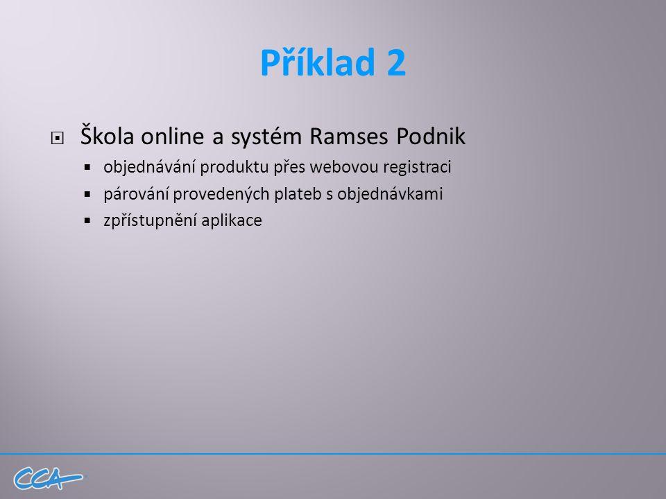 Příklad 2  Škola online a systém Ramses Podnik  objednávání produktu přes webovou registraci  párování provedených plateb s objednávkami  zpřístupnění aplikace