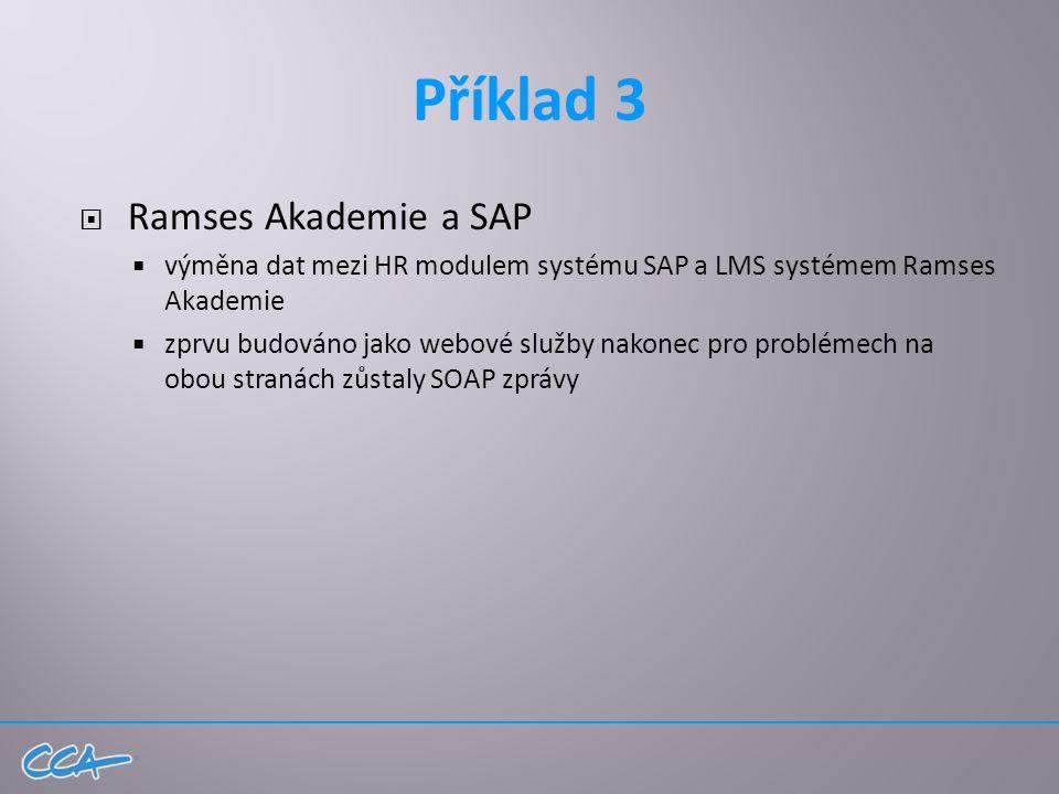 Příklad 3  Ramses Akademie a SAP  výměna dat mezi HR modulem systému SAP a LMS systémem Ramses Akademie  zprvu budováno jako webové služby nakonec pro problémech na obou stranách zůstaly SOAP zprávy