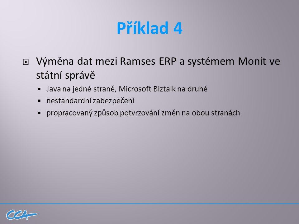 Příklad 4  Výměna dat mezi Ramses ERP a systémem Monit ve státní správě  Java na jedné straně, Microsoft Biztalk na druhé  nestandardní zabezpečení  propracovaný způsob potvrzování změn na obou stranách