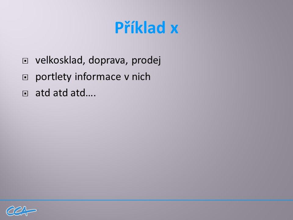 Příklad x  velkosklad, doprava, prodej  portlety informace v nich  atd atd atd….