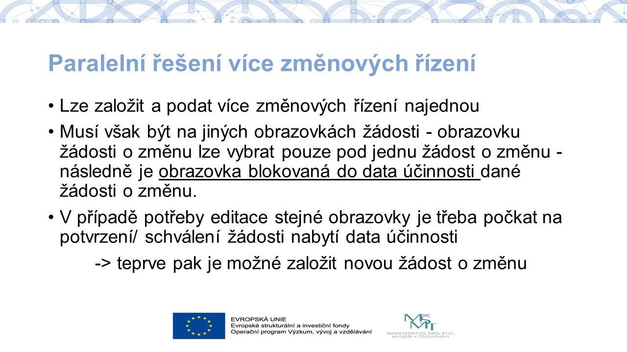 Žádost o změnu v ISKP Úprava obrazovky, uložení