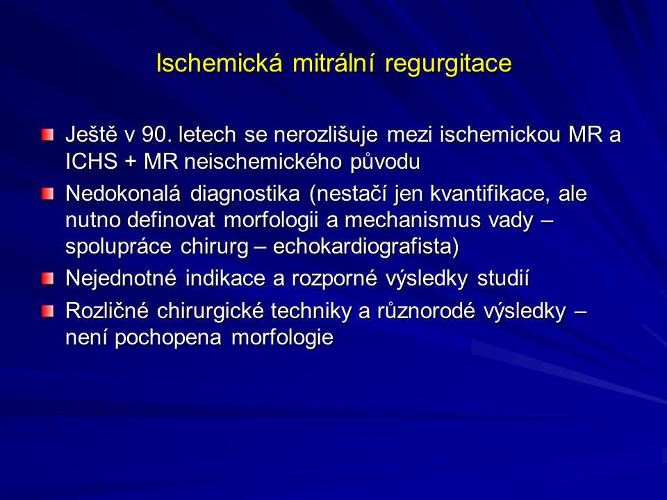 Ischemická mitrální regurgitace Ještě v 90.