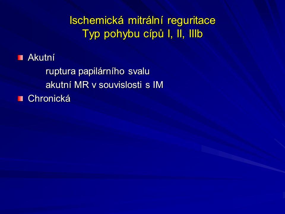 Ischemická mitrální reguritace Typ pohybu cípů I, II, IIIb Akutní ruptura papilárního svalu akutní MR v souvislosti s IM Chronická