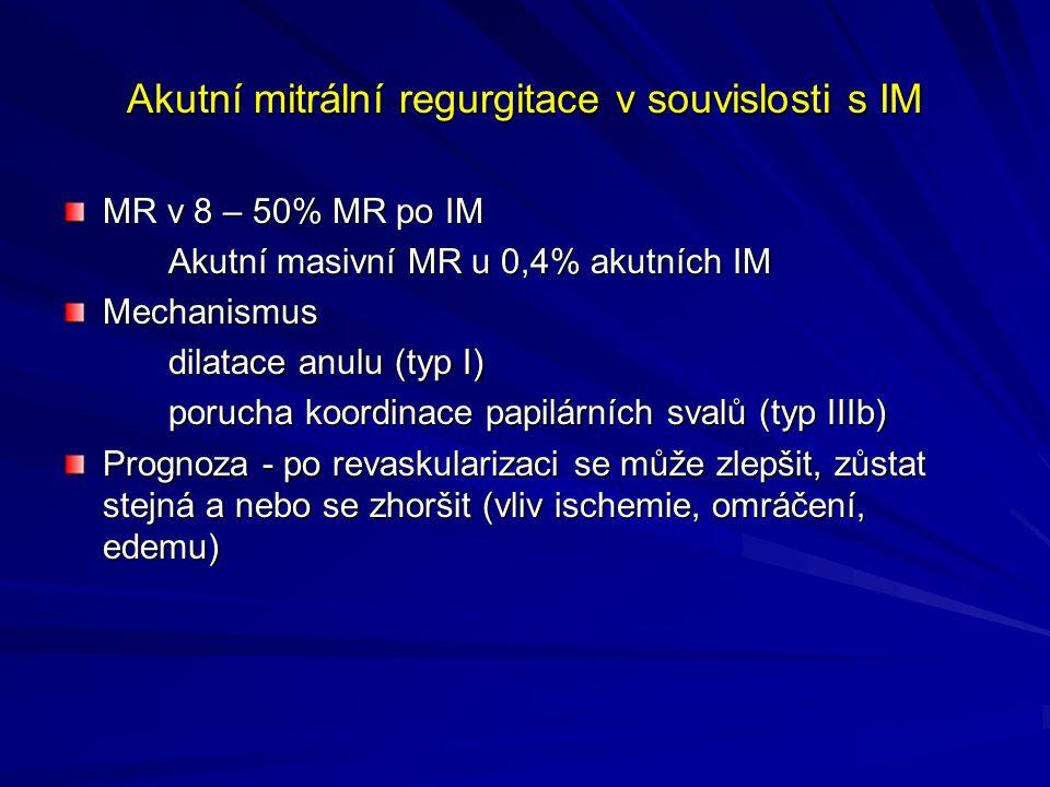Akutní mitrální regurgitace v souvislosti s IM MR v 8 – 50% MR po IM Akutní masivní MR u 0,4% akutních IM Mechanismus dilatace anulu (typ I) porucha koordinace papilárních svalů (typ IIIb) Prognoza - po revaskularizaci se může zlepšit, zůstat stejná a nebo se zhoršit (vliv ischemie, omráčení, edemu)