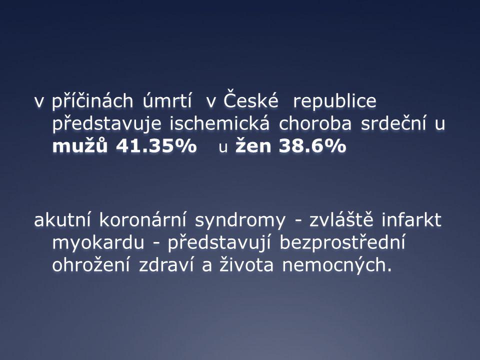 v příčinách úmrtí v České republice představuje ischemická choroba srdeční u mužů 41.35% u žen 38.6% akutní koronární syndromy - zvláště infarkt myoka