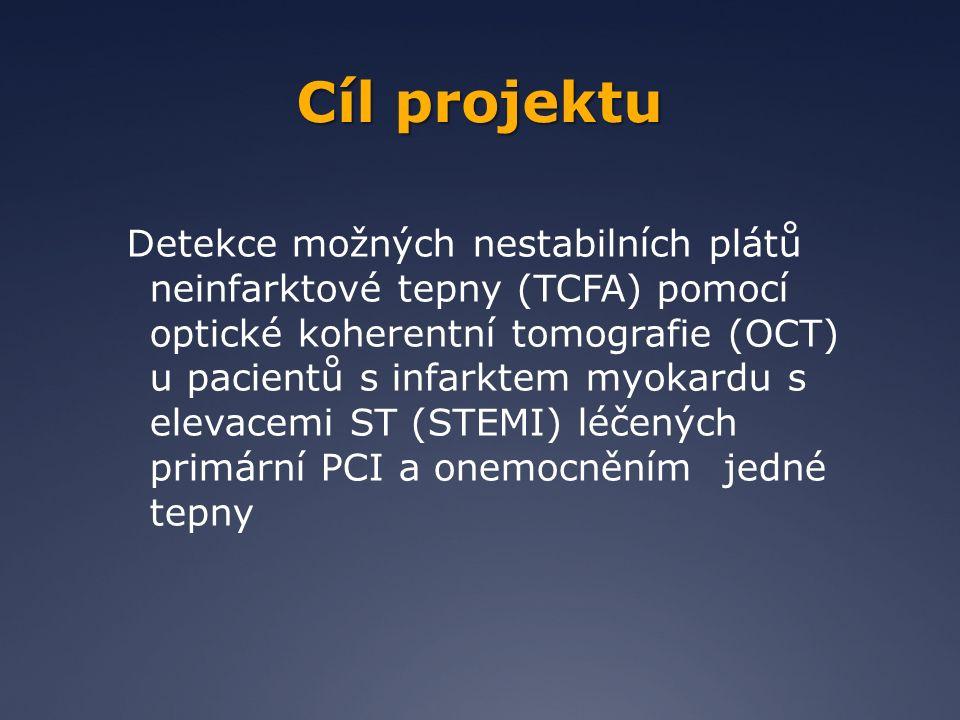 ZÁVĚRY OCT je u pacientů se STEMI bezpečnou procedurou (pouze u jednoho pacienta VF po nástřiku KL) v našem souboru pacientů až 42% pacientů mělo nestabilní pláty i na jiné než infarktové tepně 33% TCFA ve 2 tepnách 10% TCFA ve všech 3 tepnách rupturu plátu a formující se trombus jsme nalezli u 23% non-culprit lézí v neinfarktových tepnách !!.