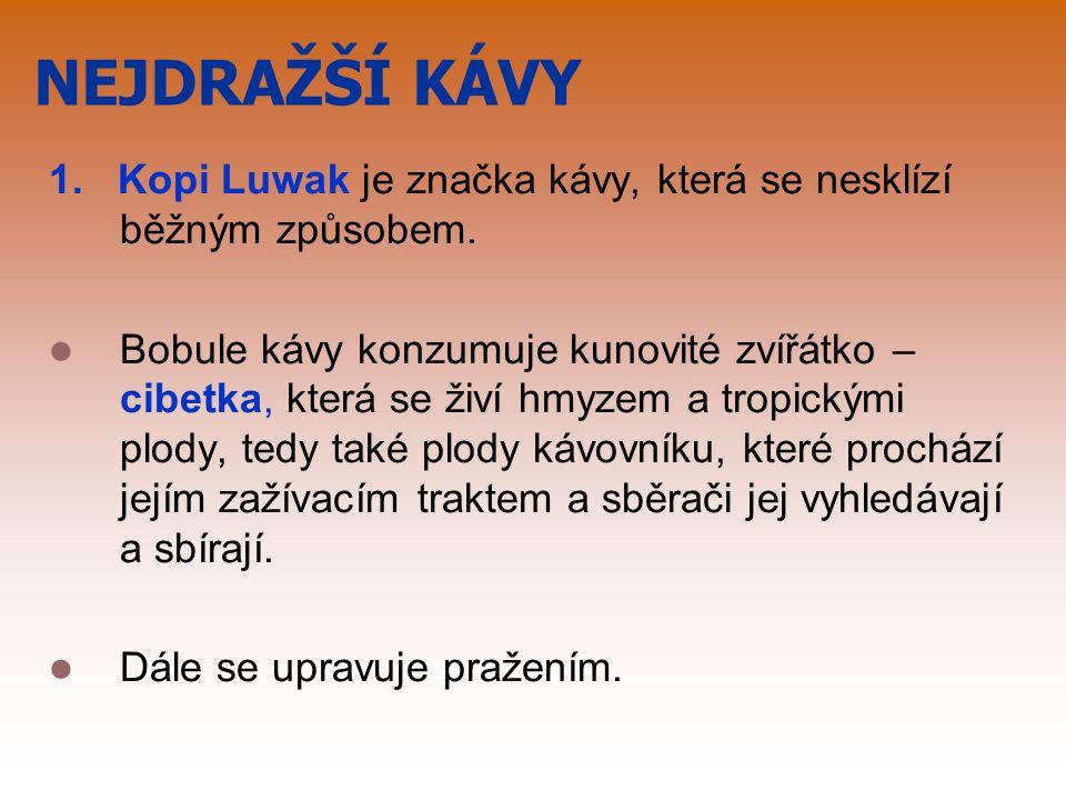 NEJDRAŽŠÍ KÁVY 1. Kopi Luwak je značka kávy, která se nesklízí běžným způsobem.