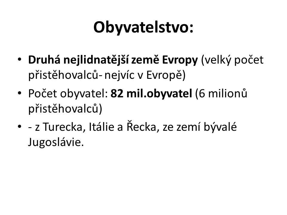 Obyvatelstvo: Druhá nejlidnatější země Evropy (velký počet přistěhovalců- nejvíc v Evropě) Počet obyvatel: 82 mil.obyvatel (6 milionů přistěhovalců) - z Turecka, Itálie a Řecka, ze zemí bývalé Jugoslávie.