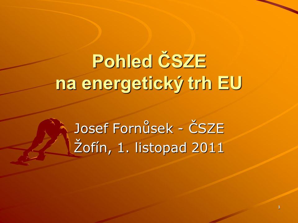 1 Pohled ČSZE na energetický trh EU Josef Fornůsek - ČSZE Žofín, 1. listopad 2011