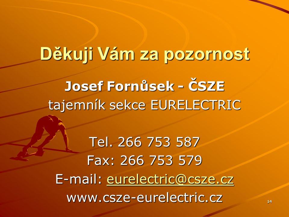 14 Děkuji Vám za pozornost Josef Fornůsek - ČSZE tajemník sekce EURELECTRIC Tel.