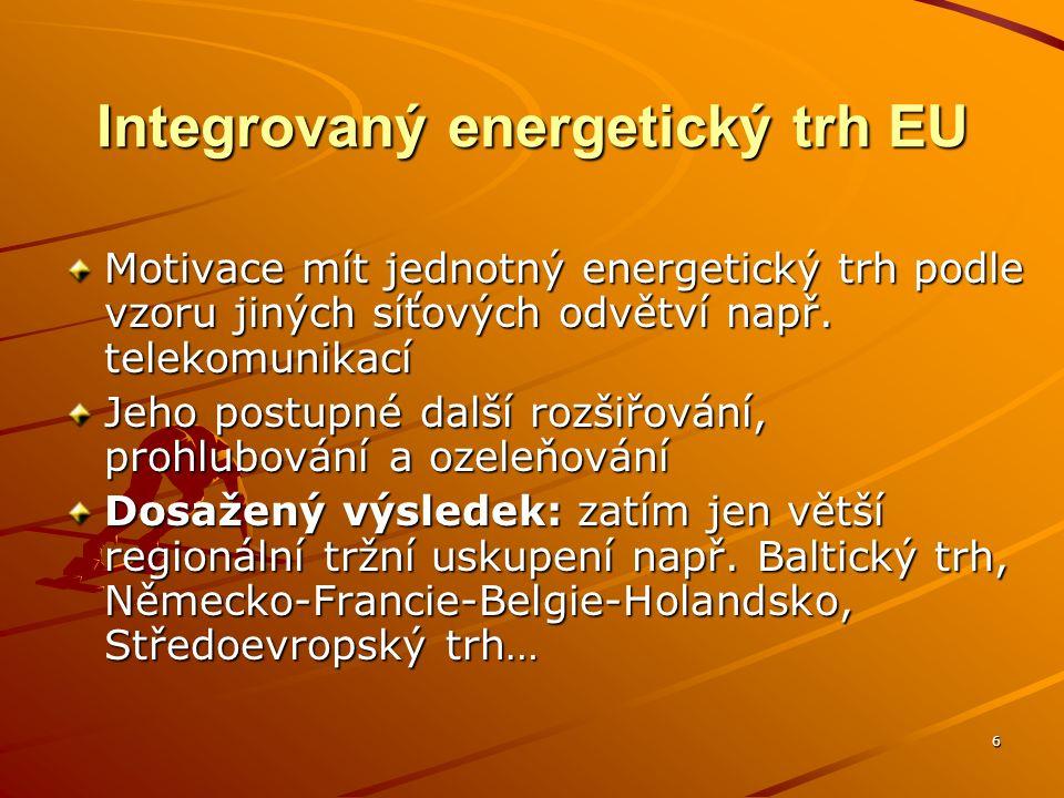 6 Integrovaný energetický trh EU Motivace mít jednotný energetický trh podle vzoru jiných síťových odvětví např.