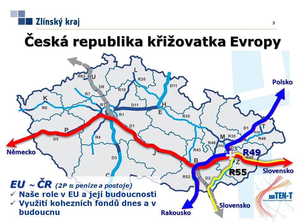 3 Česká republika křižovatka Evropy EU  ČR EU  ČR (2P ≈ peníze a postoje) Naše role v EU a její budoucnosti Využití kohezních fondů dnes a v budoucnu Německo Polsko R49 R55 Rakousko Slovensko Slovensko