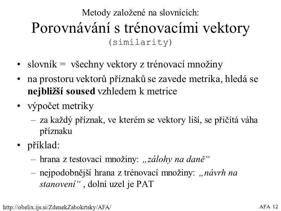 """http://obelix.ijs.si/ZdenekZabokrtsky/AFA/ AFA 12 Metody založené na slovnících: Porovnávání s trénovacími vektory (similarity) slovník = všechny vektory z trénovací množiny na prostoru vektorů příznaků se zavede metrika, hledá se nejbližší soused vzhledem k metrice výpočet metriky –za každý příznak, ve kterém se vektory liší, se přičítá váha příznaku příklad: –hrana z testovací množiny: """"zálohy na daně –nejpodobnější hrana z trénovací množiny: """"návrh na stanovení , dolní uzel je PAT"""