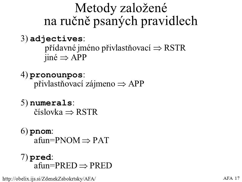 http://obelix.ijs.si/ZdenekZabokrtsky/AFA/ AFA 17 Metody založené na ručně psaných pravidlech 3) adjectives : přídavné jméno přivlastňovací  RSTR jiné  APP 4) pronounpos : přivlastňovací zájmeno  APP 5) numerals : číslovka  RSTR 6) pnom : afun=PNOM  PAT 7) pred : afun=PRED  PRED