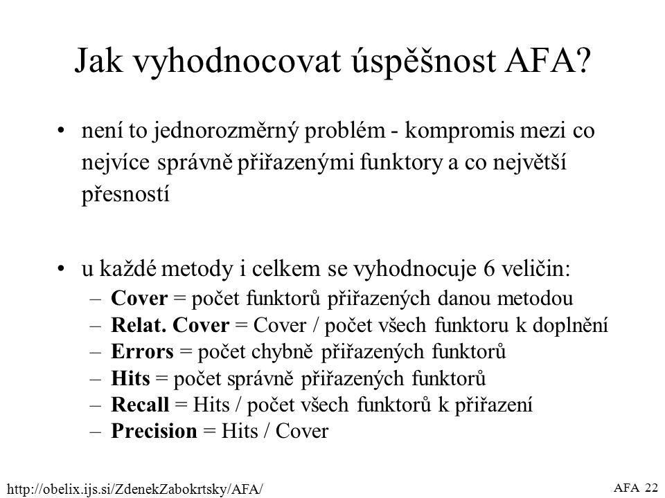 http://obelix.ijs.si/ZdenekZabokrtsky/AFA/ AFA 22 Jak vyhodnocovat úspěšnost AFA.