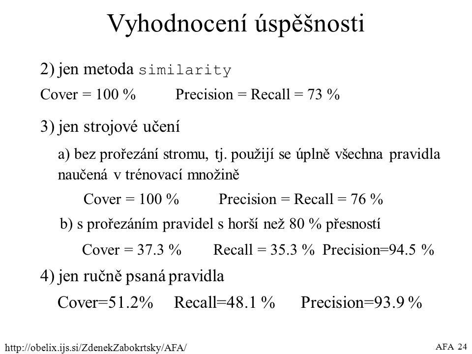 http://obelix.ijs.si/ZdenekZabokrtsky/AFA/ AFA 24 Vyhodnocení úspěšnosti 2) jen metoda similarity Cover = 100 % Precision = Recall = 73 % 3) jen strojové učení a) bez prořezání stromu, tj.