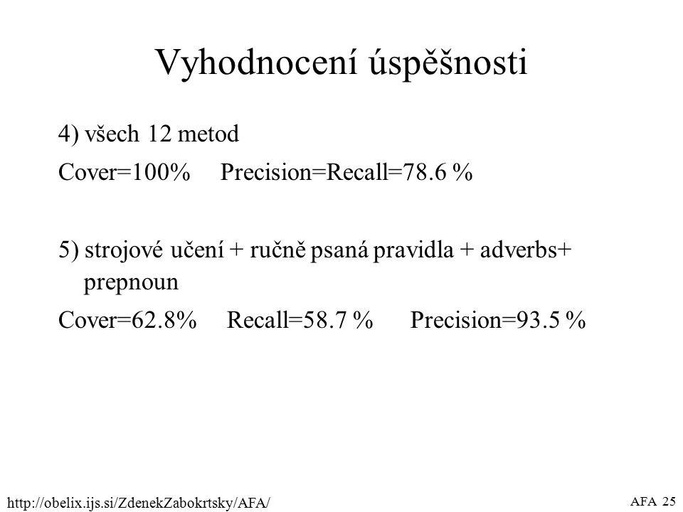 http://obelix.ijs.si/ZdenekZabokrtsky/AFA/ AFA 25 Vyhodnocení úspěšnosti 4) všech 12 metod Cover=100% Precision=Recall=78.6 % 5) strojové učení + ručně psaná pravidla + adverbs+ prepnoun Cover=62.8% Recall=58.7 % Precision=93.5 %