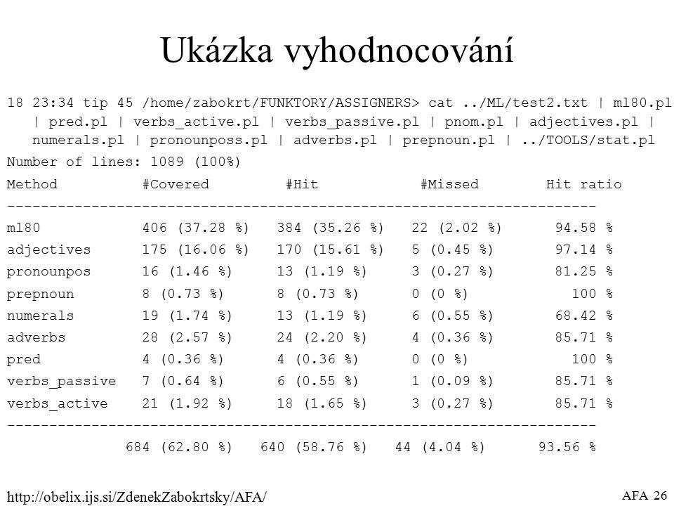 http://obelix.ijs.si/ZdenekZabokrtsky/AFA/ AFA 26 Ukázka vyhodnocování 18 23:34 tip 45 /home/zabokrt/FUNKTORY/ASSIGNERS> cat../ML/test2.txt | ml80.pl