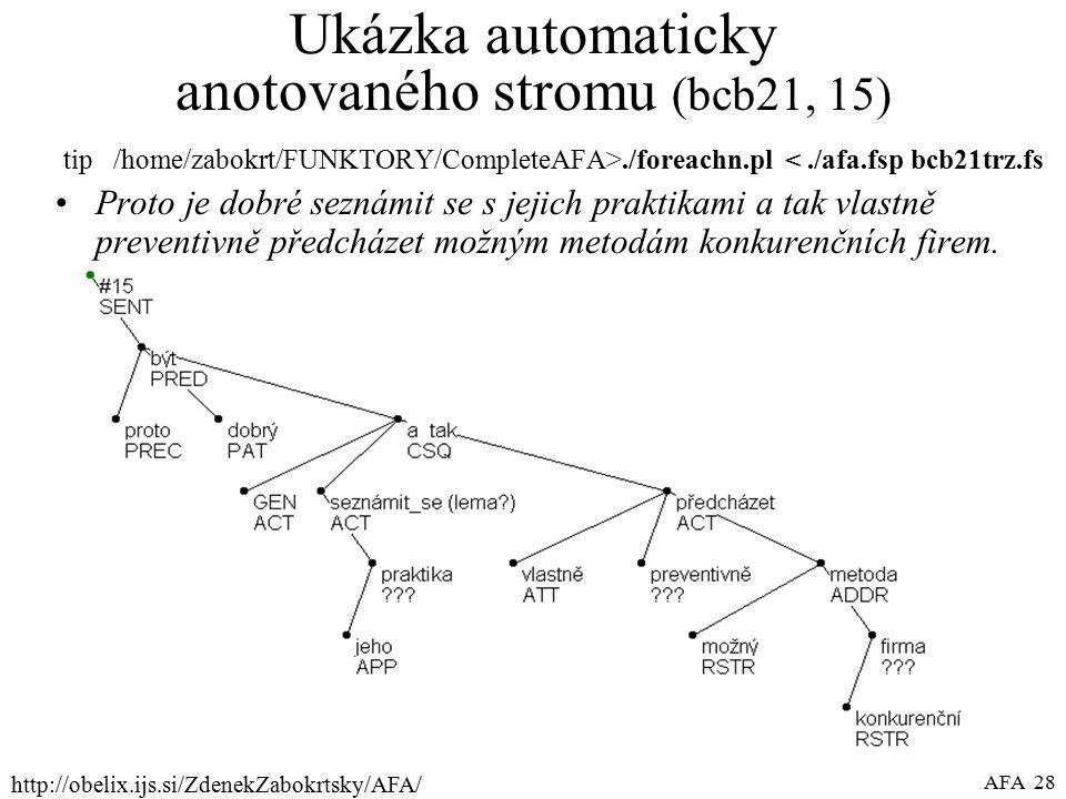 http://obelix.ijs.si/ZdenekZabokrtsky/AFA/ AFA 28 Ukázka automaticky anotovaného stromu (bcb21, 15) tip /home/zabokrt/FUNKTORY/CompleteAFA>./foreachn.pl <./afa.fsp bcb21trz.fs Proto je dobré seznámit se s jejich praktikami a tak vlastně preventivně předcházet možným metodám konkurenčních firem.