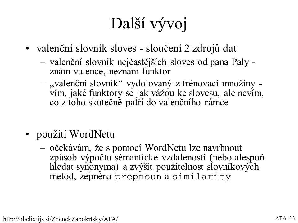 """http://obelix.ijs.si/ZdenekZabokrtsky/AFA/ AFA 33 Další vývoj valenční slovník sloves - sloučení 2 zdrojů dat –valenční slovník nejčastějších sloves od pana Paly - znám valence, neznám funktor –""""valenční slovník vydolovaný z trénovací množiny - vím, jaké funktory se jak vážou ke slovesu, ale nevím, co z toho skutečně patří do valenčního rámce použití WordNetu –očekávám, že s pomocí WordNetu lze navrhnout způsob výpočtu sémantické vzdálenosti (nebo alespoň hledat synonyma) a zvýšit použitelnost slovníkových metod, zejména prepnoun a similarity"""