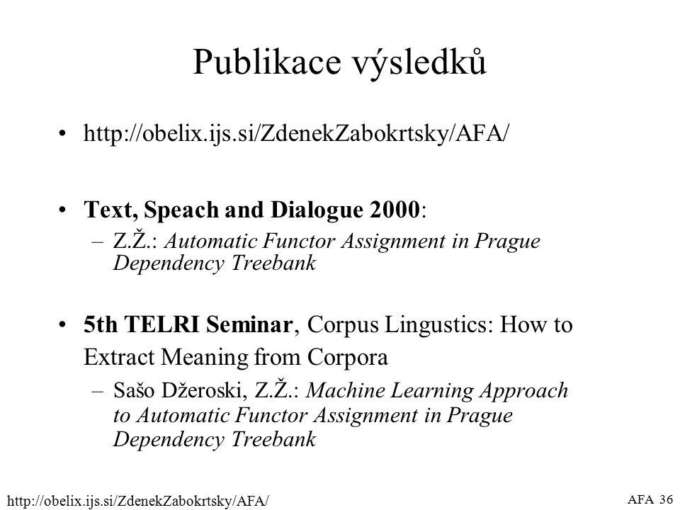 http://obelix.ijs.si/ZdenekZabokrtsky/AFA/ AFA 36 Publikace výsledků http://obelix.ijs.si/ZdenekZabokrtsky/AFA/ Text, Speach and Dialogue 2000: –Z.Ž.: