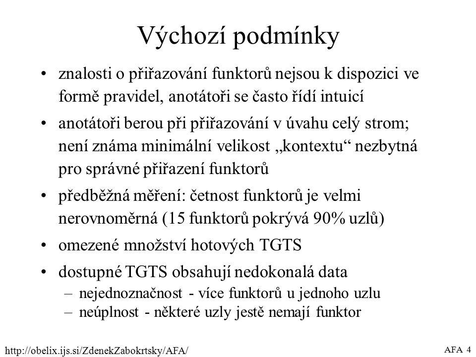 """http://obelix.ijs.si/ZdenekZabokrtsky/AFA/ AFA 4 Výchozí podmínky znalosti o přiřazování funktorů nejsou k dispozici ve formě pravidel, anotátoři se často řídí intuicí anotátoři berou při přiřazování v úvahu celý strom; není známa minimální velikost """"kontextu nezbytná pro správné přiřazení funktorů předběžná měření: četnost funktorů je velmi nerovnoměrná (15 funktorů pokrývá 90% uzlů) omezené množství hotových TGTS dostupné TGTS obsahují nedokonalá data –nejednoznačnost - více funktorů u jednoho uzlu –neúplnost - některé uzly jestě nemají funktor"""
