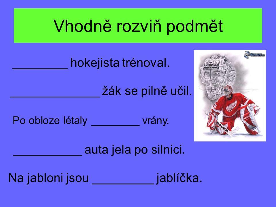 Vhodně rozviň podmět ________ hokejista trénoval. _____________ žák se pilně učil.